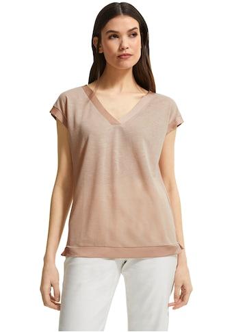 Comma V-Shirt, mit Satinblende aus Leinen-Mix kaufen