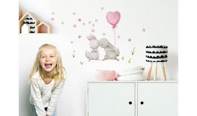 little DECO Wandtattoo »Little Deco Wandtattoo Küssende Hasen mit Luftballon Rosa... kaufen
