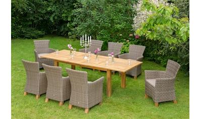 MERXX Gartenmöbelset »Toskana«, 17 - tlg., 8 Sessel, Tisch 100x180 - 260 cm, Polyrattan/Akazie kaufen