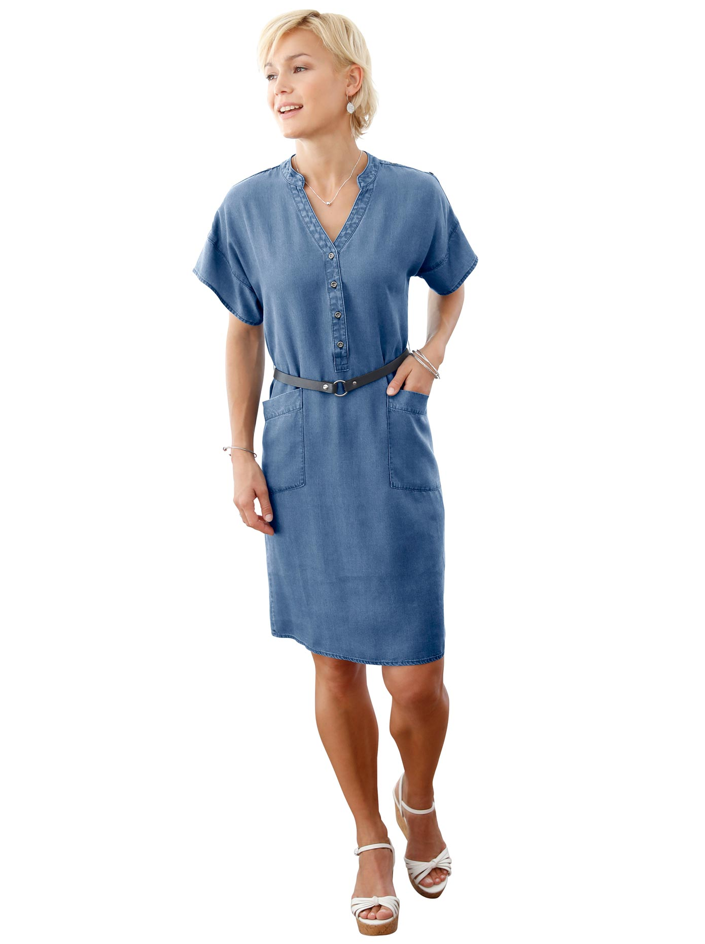 Casual Looks Kleid mit Krempelärmeln