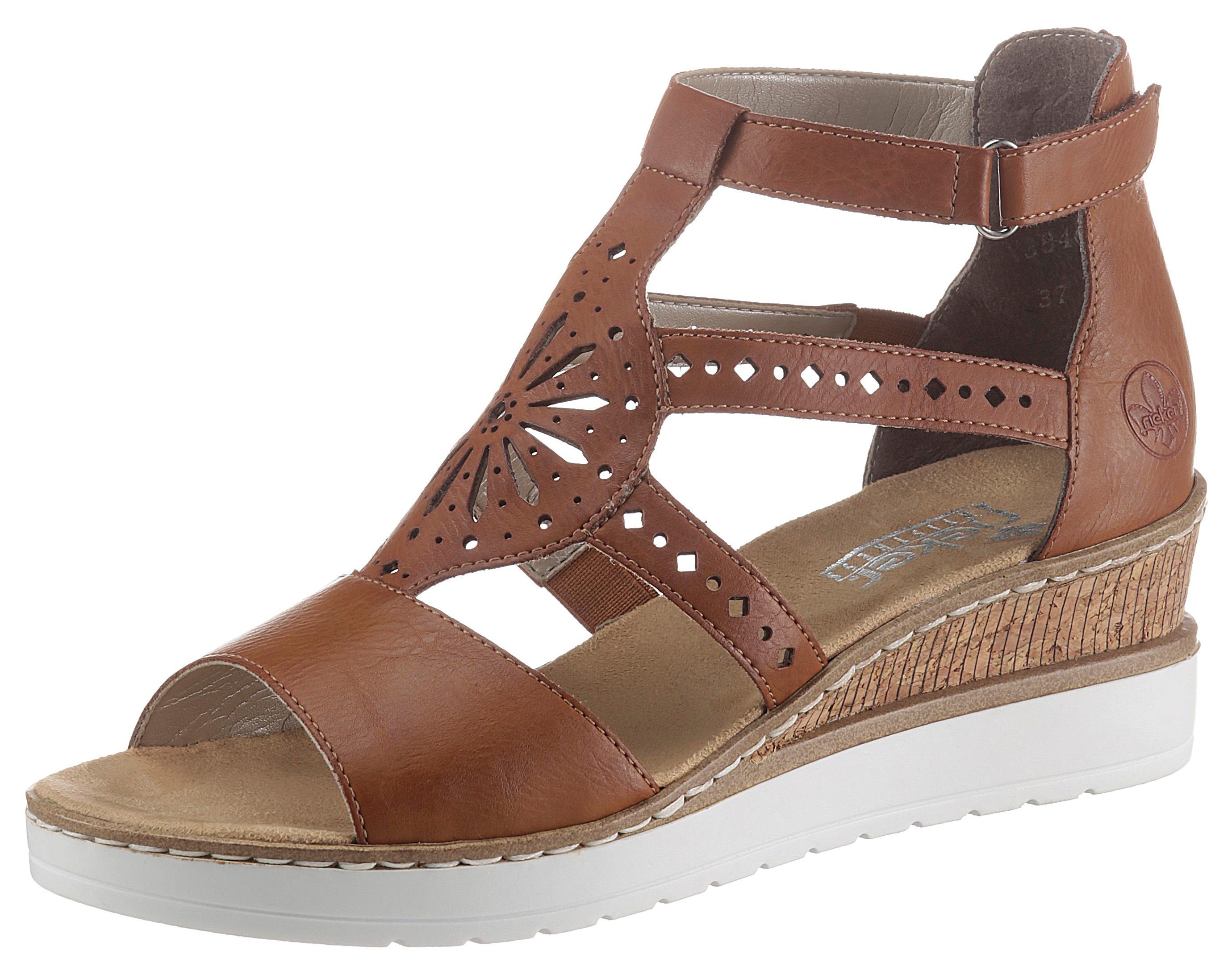 Rieker Sandalette, im Ethno-Look braun Damen Sandaletten Sandalen Sandalette