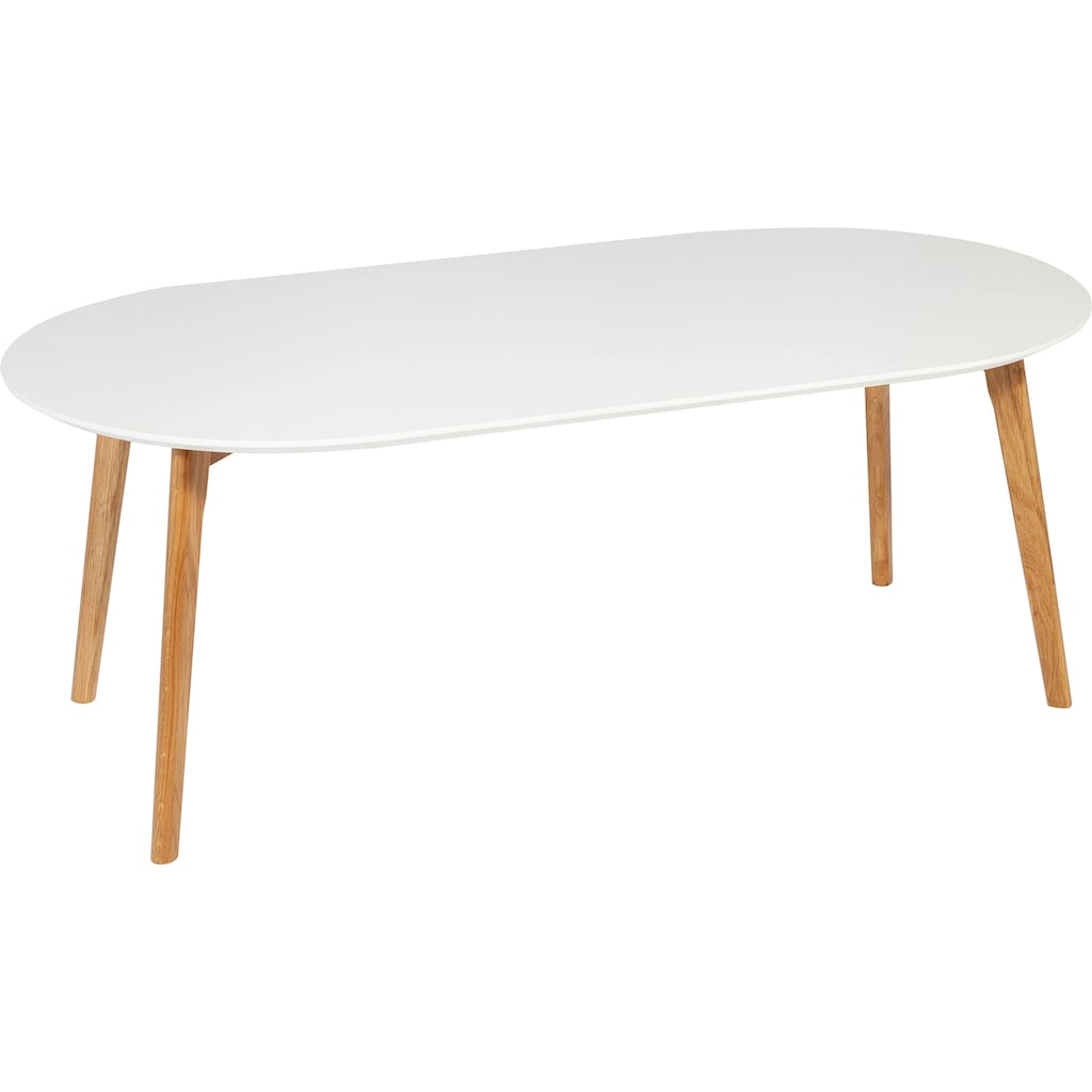 Homexperts Couchtisch »Madlina«, ovale Tischpatte in weiß-matt, Maße (B/T/H) ca. 120/60/45 cm