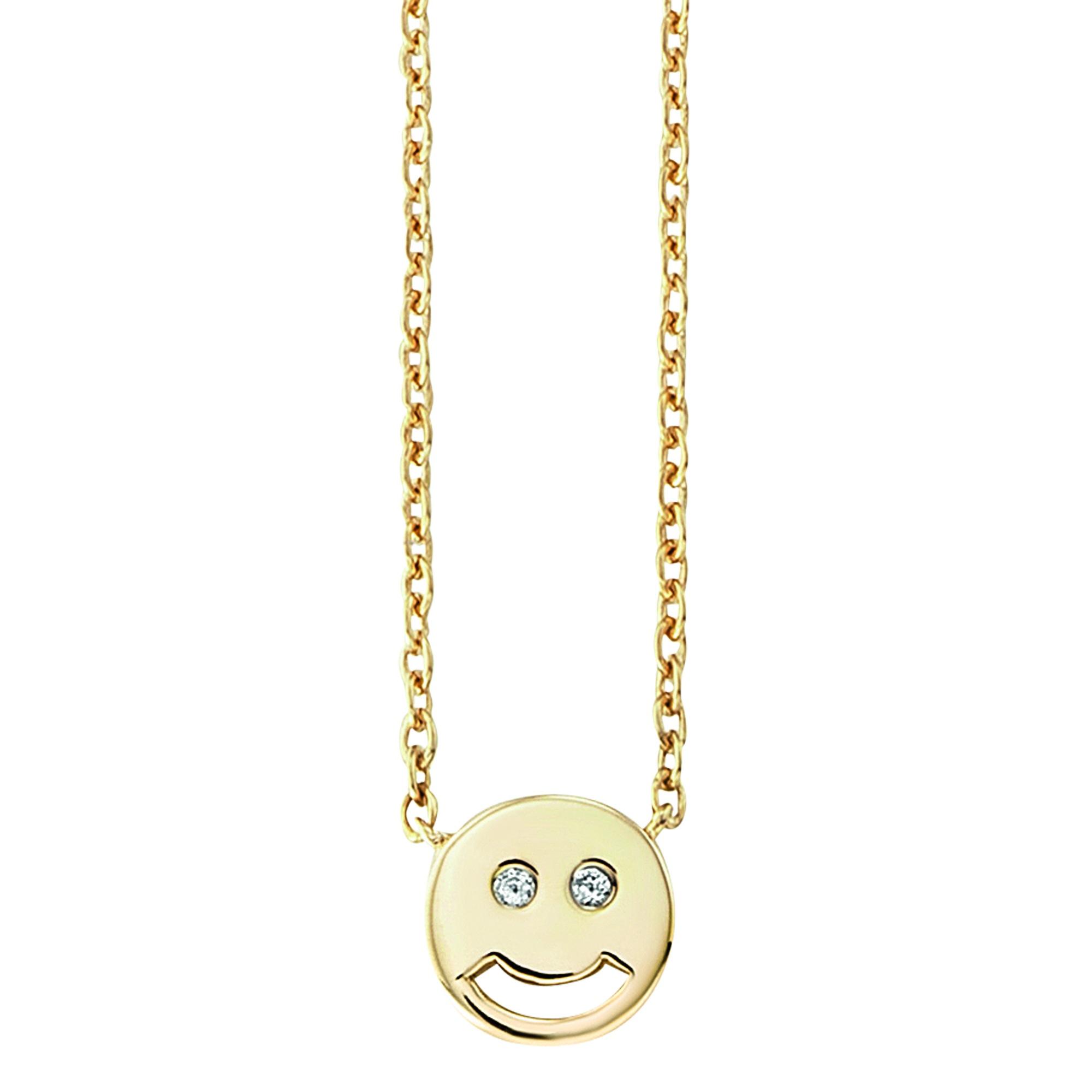 Cai Collier 925/- Sterling Silber vergoldet Zirkonia Smiley | Schmuck > Halsketten > Colliers | Gelb | Metall | Cai