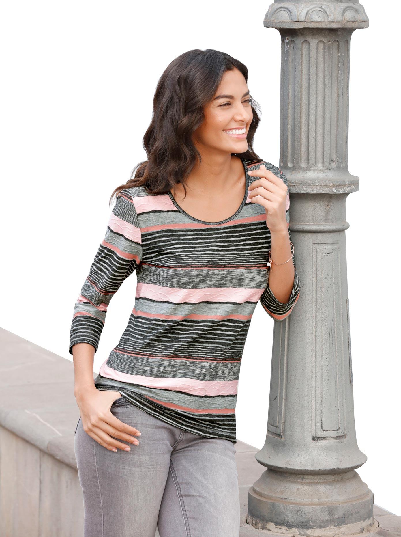 casual looks - Shirt mit it garngefärbtem Streifendessin
