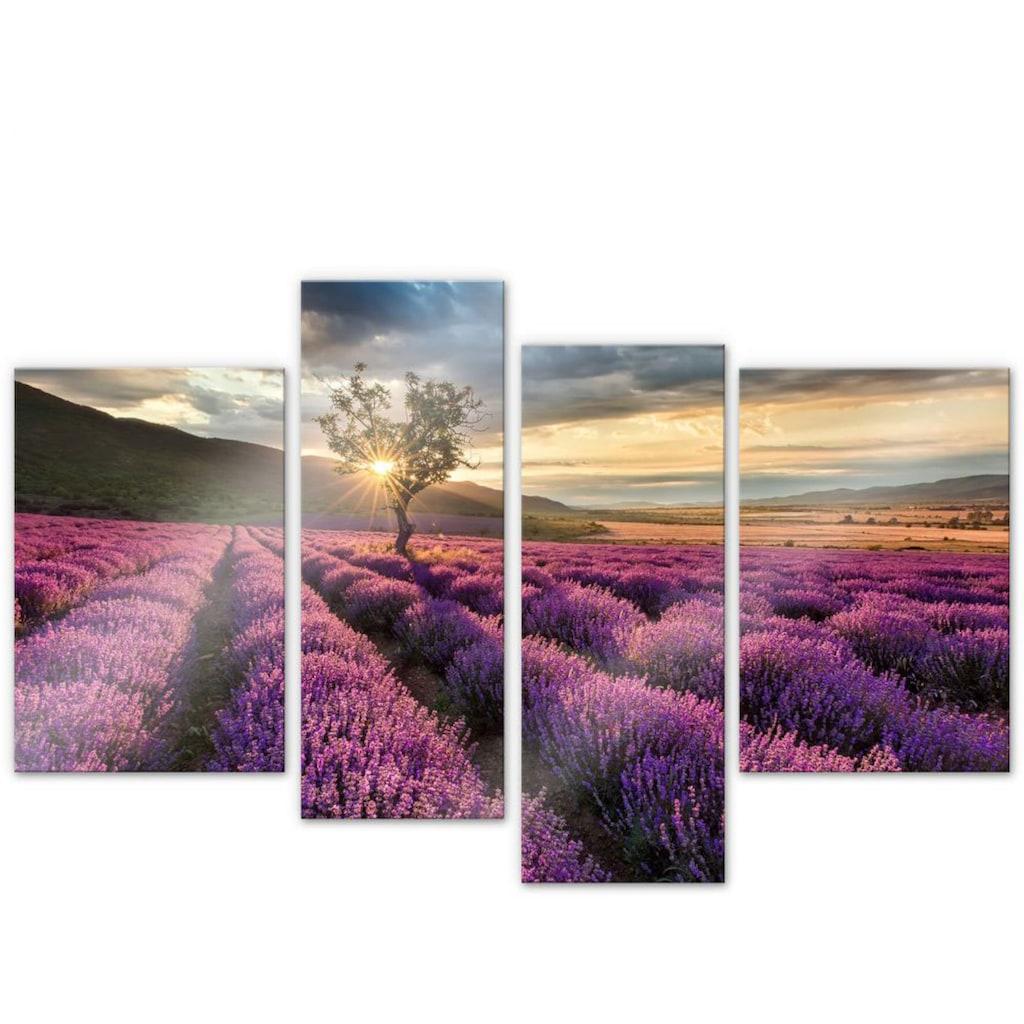 Wall-Art Mehrteilige Bilder »Lavendelblüte Provence 4-tlg«, (Set, 4 St.)