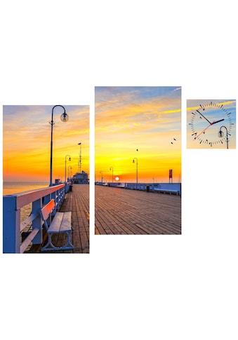 Conni Oberkircher´s Bild »Sunset Pier«, Sonnenuntergang, (Set), mit dekorativer Uhr kaufen