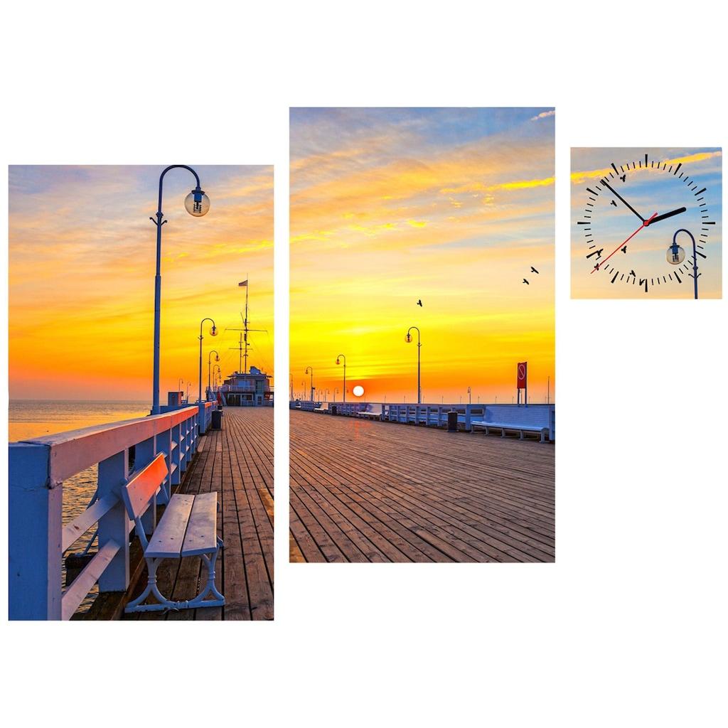 Conni Oberkircher´s Bild »Sunset Pier«, Sonnenuntergang, (Set), mit dekorativer Uhr
