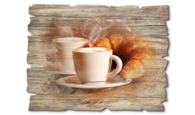 Artland Holzbild »Dampfender Cappuccino und Croissant«, Getränke, (1 St.) kaufen