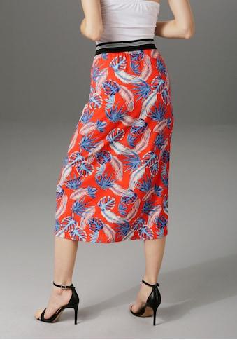 Aniston CASUAL Sommerrock, mit trendfarbenen Bläterdruck kaufen