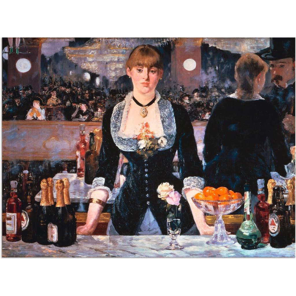 Artland Wandbild »Die Bar des Folies-Bergeres, um 1881«, Frau, (1 St.), in vielen Größen & Produktarten - Alubild / Outdoorbild für den Außenbereich, Leinwandbild, Poster, Wandaufkleber / Wandtattoo auch für Badezimmer geeignet
