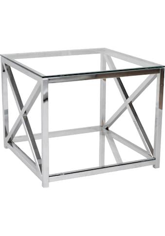 Leonique Beistelltisch »Darienne«, mit Sicherheits-Klarglasplatten und verchromtem... kaufen