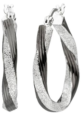 JOBO Paar Creolen, oval 925 Silber schwarz bicolor kaufen