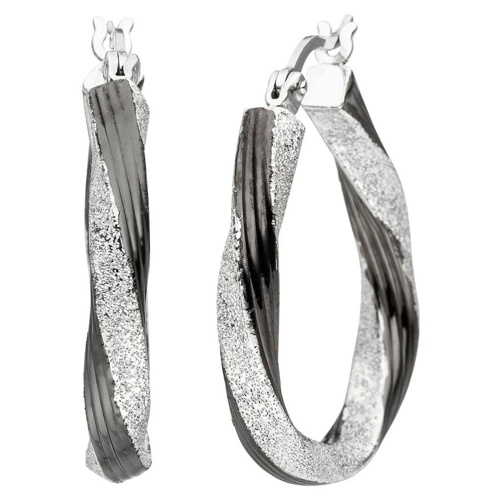 JOBO Paar Creolen, oval 925 Silber schwarz bicolor