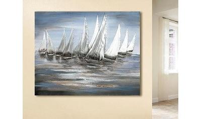 GILDE Leinwandbild »Gemälde Stormy Regatta«, Boote & Schiffe, (1 St.), handgemaltes... kaufen