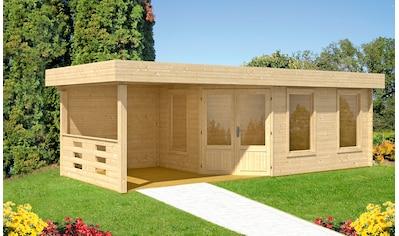WOLFF FINNHAUS Set: Gartenhaus »Maja 40 - B/1«, BxT: 753x349 cm, inkl. Fußboden und Anbaudach mit Rückwand kaufen