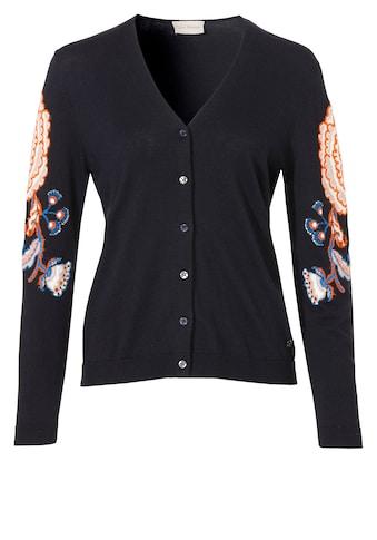 VIA APPIA Feminine Strickjacke mit floralen Details kaufen
