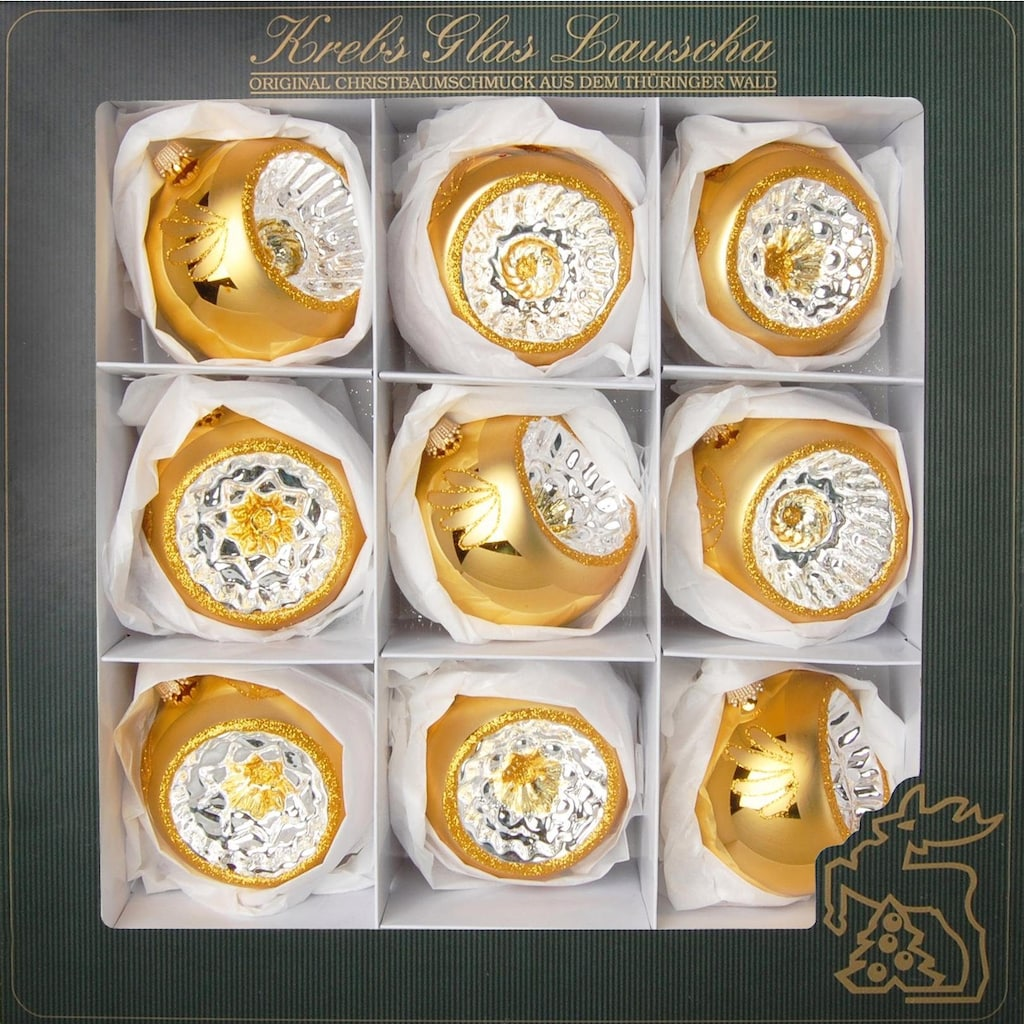 Krebs Glas Lauscha Weihnachtsbaumkugel »Reflexstyle«, (Set, 9 St.), mundgeblasen, goldfarben