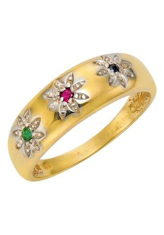 Firetti Goldring »Bicolor-Optik, Blüten mit Farbsteinen«, mit Saphir, Rubin und Smaragd kaufen