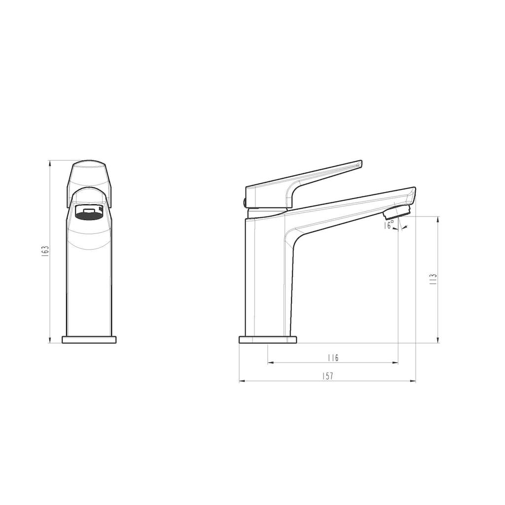 Schütte Waschtischarmatur »RAVEN«, mit Ablaufgarnitur und Abflussstopfen, Einhebelmischer