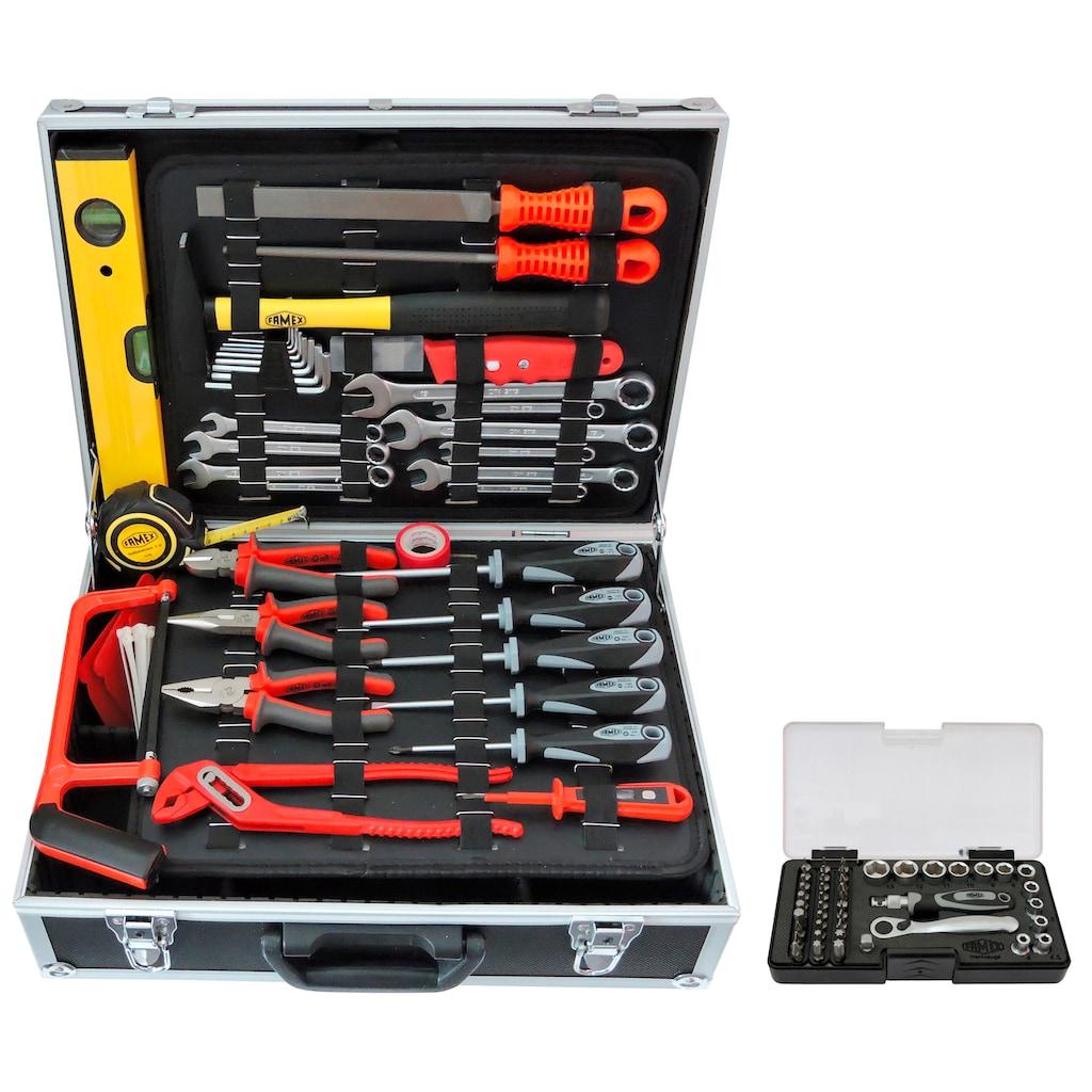 FAMEX Werkzeugset »754-50«, (83 St.), befüllter Werkzeugkoffer