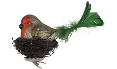 """Krebs Glas Lauscha Weihnachtsbaumklammer """"Vogel im Nest"""" (1 - teilig) kaufen"""