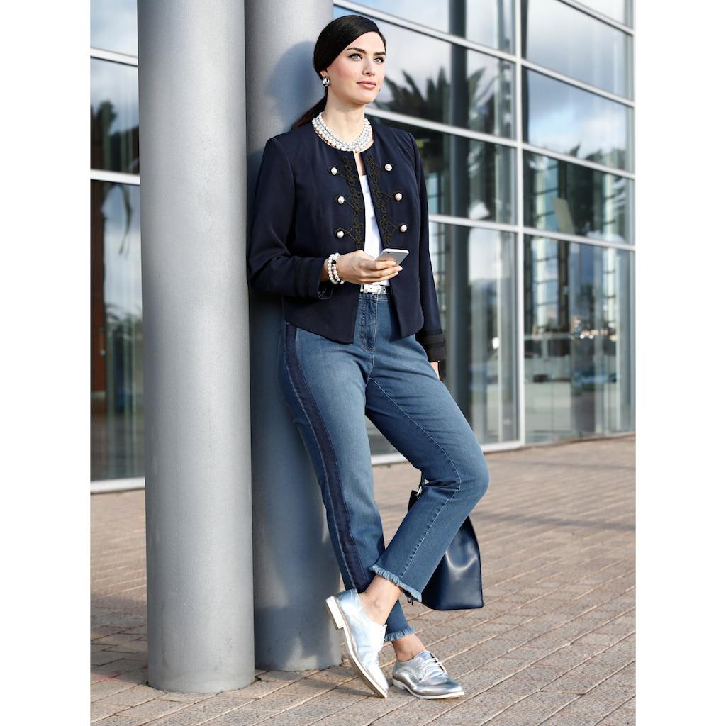 Sara Lindholm by Happy Size Slim Fit Jeans knöchellang mit Fransensaum