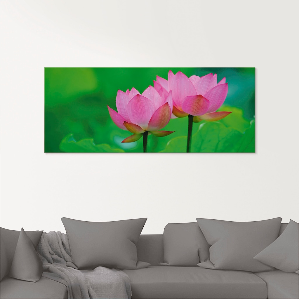 Artland Glasbild »Blühende Lotusblume«, Blumen, (1 St.)