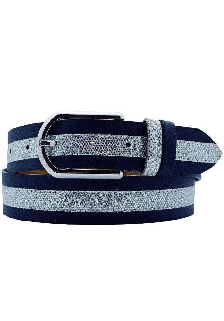 AnnaMatoni Ledergürtel, Mittig mit Glitterstreifen blau Damen Ledergürtel Gürtel Accessoires