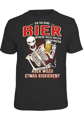 Rahmenlos T-Shirt mit lustigem Bier-Print - Ein Tag ohne Bier würde mich kaufen