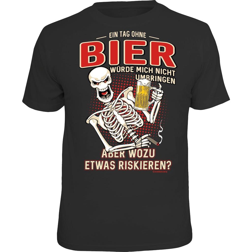 Rahmenlos T-Shirt mit lustigem Bier-Print - Ein Tag ohne Bier würde mich