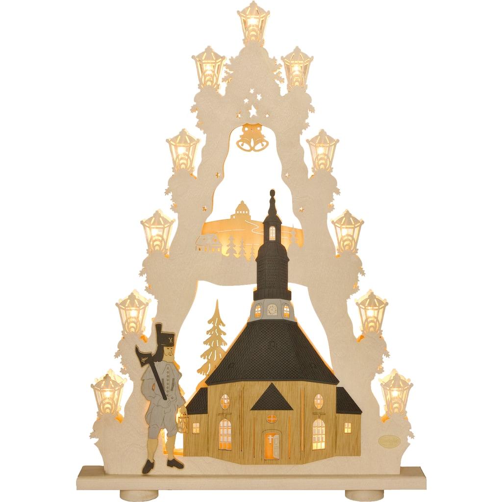 Weigla LED Lichterbogen »Seiffener Kirche«, 1 tlg., Lichterspitze, 15-flammig, mit 3D-Effekt