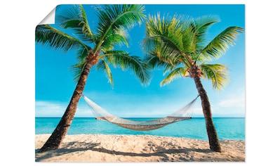 Artland Wandbild »Palmenstrand Karibik mit Hängematte«, Amerika, (1 St.), in vielen... kaufen