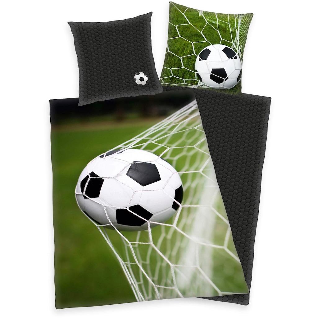 Herding Wendebettwäsche »Fußball«, mit Ball im Netz