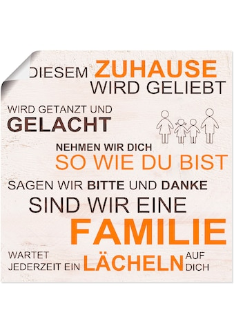 Artland Wandbild »In diesem Zuhause - beige«, Sprüche & Texte, (1 St.), in vielen... kaufen