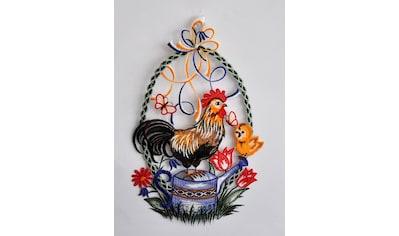 Stickereien Plauen Fensterbild »Hahn auf Kanne« kaufen