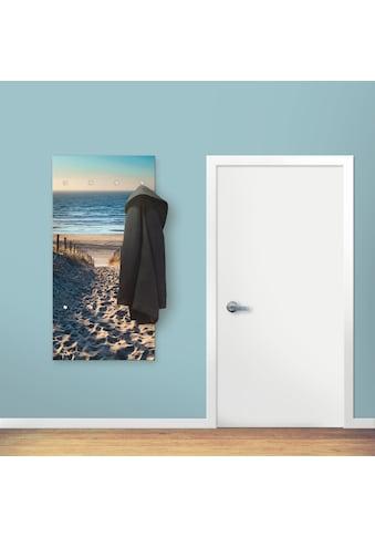 Artland Garderobe »Weg zum Nordseestrand Sonnenuntergang«, Garderobe mit 4 großen und 2 kleinen Haken kaufen
