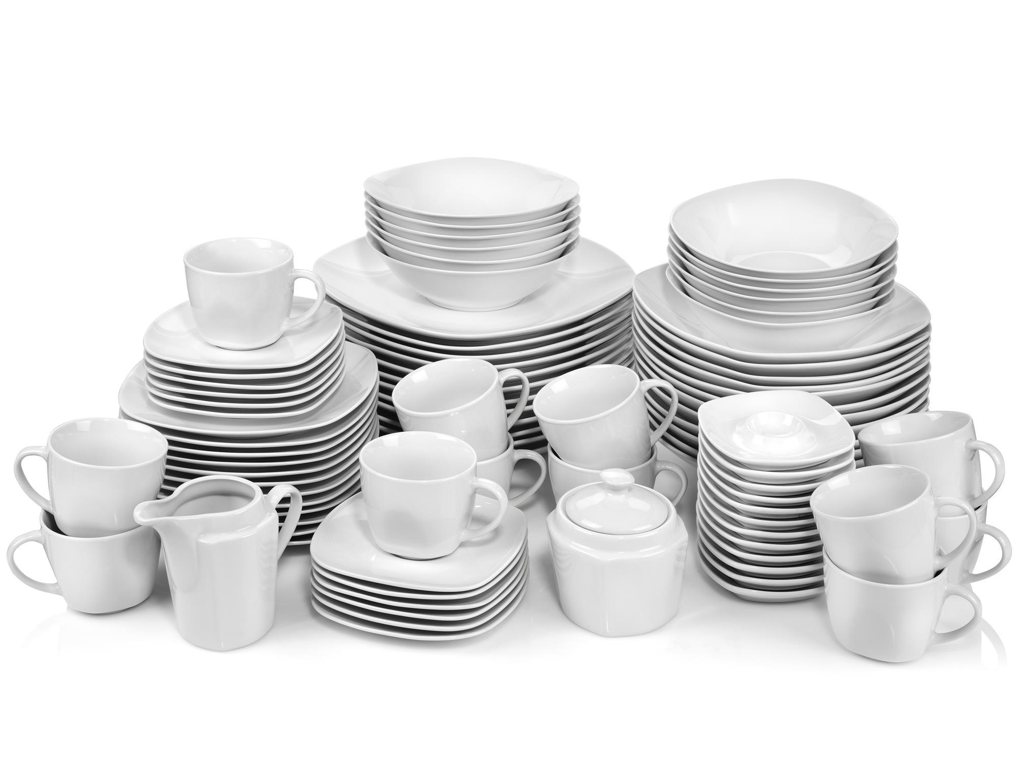 SÄNGER Kombiservice Bilgola, (86 tlg., Geschirrservice Bilgola aus Porzellan 86 teilig) weiß Geschirr-Sets Geschirr, Tischaccessoires Haushaltswaren