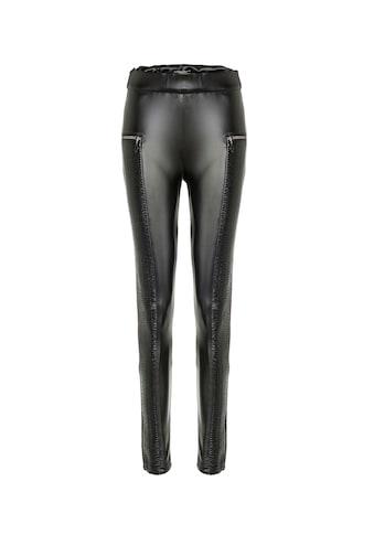 Cipo & Baxx Leggings, in Leder-Optik mit Zippern kaufen