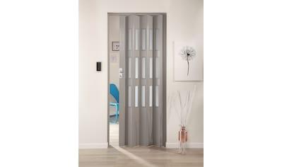 Kunststoff - Falttür »Elvira«, Höhe nach Maß, grau gewebt mit satinierten Fenstern kaufen