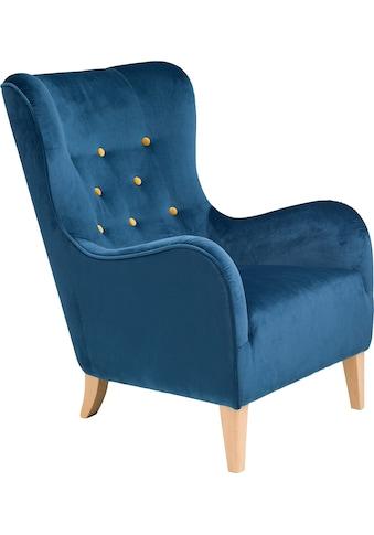 Max Winzer® Sessel »Melina«, mit farbigen Zierknöpfen, mit Holzfüßen kaufen
