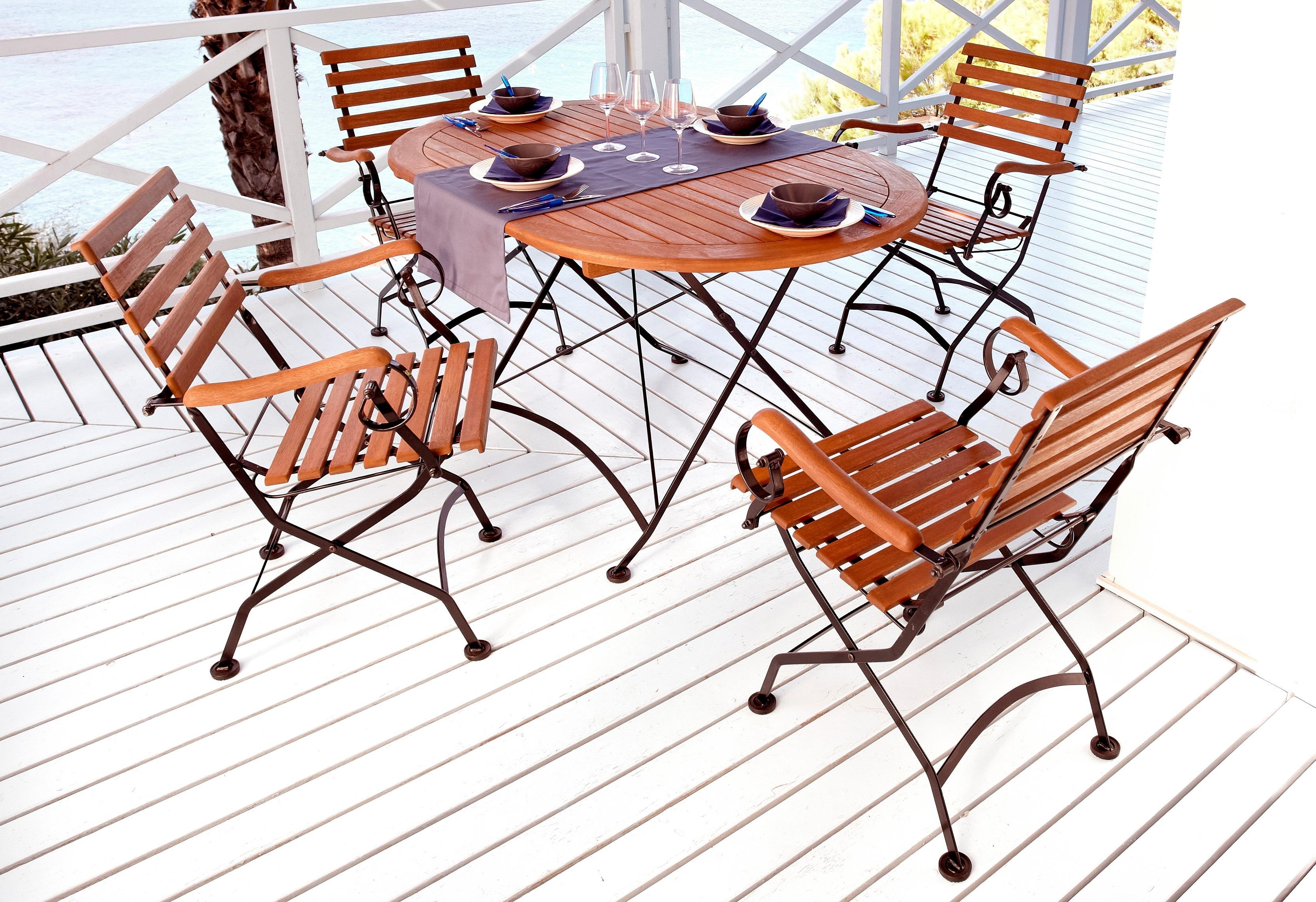 MERXX Sparset: Gartenmöbelset Schlossgarten 5-tlg 4 Sesselovaler Tisch 140x90 cm Stahl/Eukalyptus