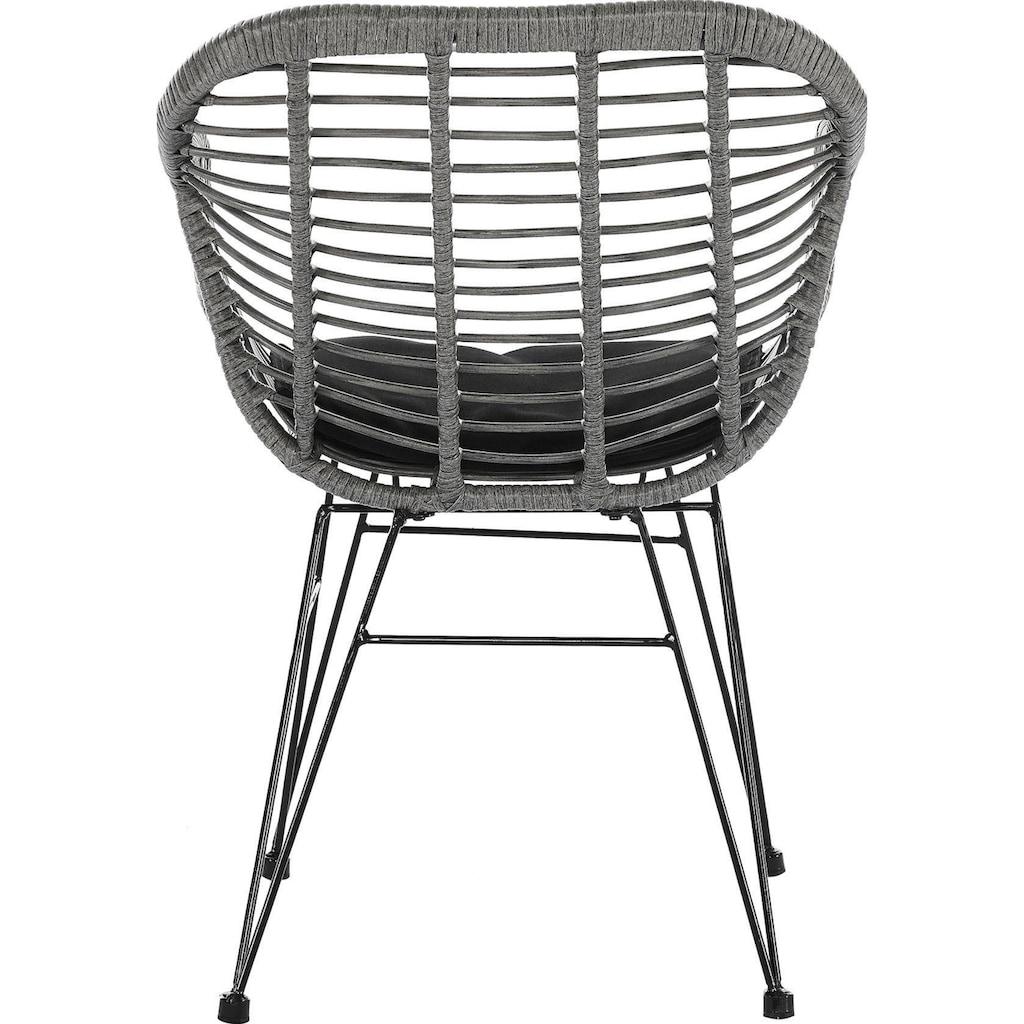 SalesFever Stuhl, inklusive Sitzkissen, im 2er-Set, Rattanstuhl aus Kunststoffgeflecht