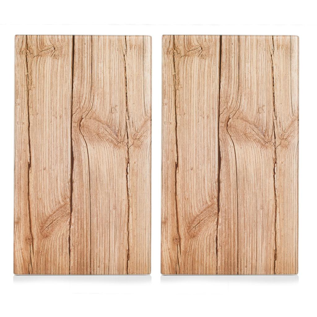 Zeller Present Schneide- und Abdeckplatte »Wood«, (Set, 2 tlg.), Elastikfüßen