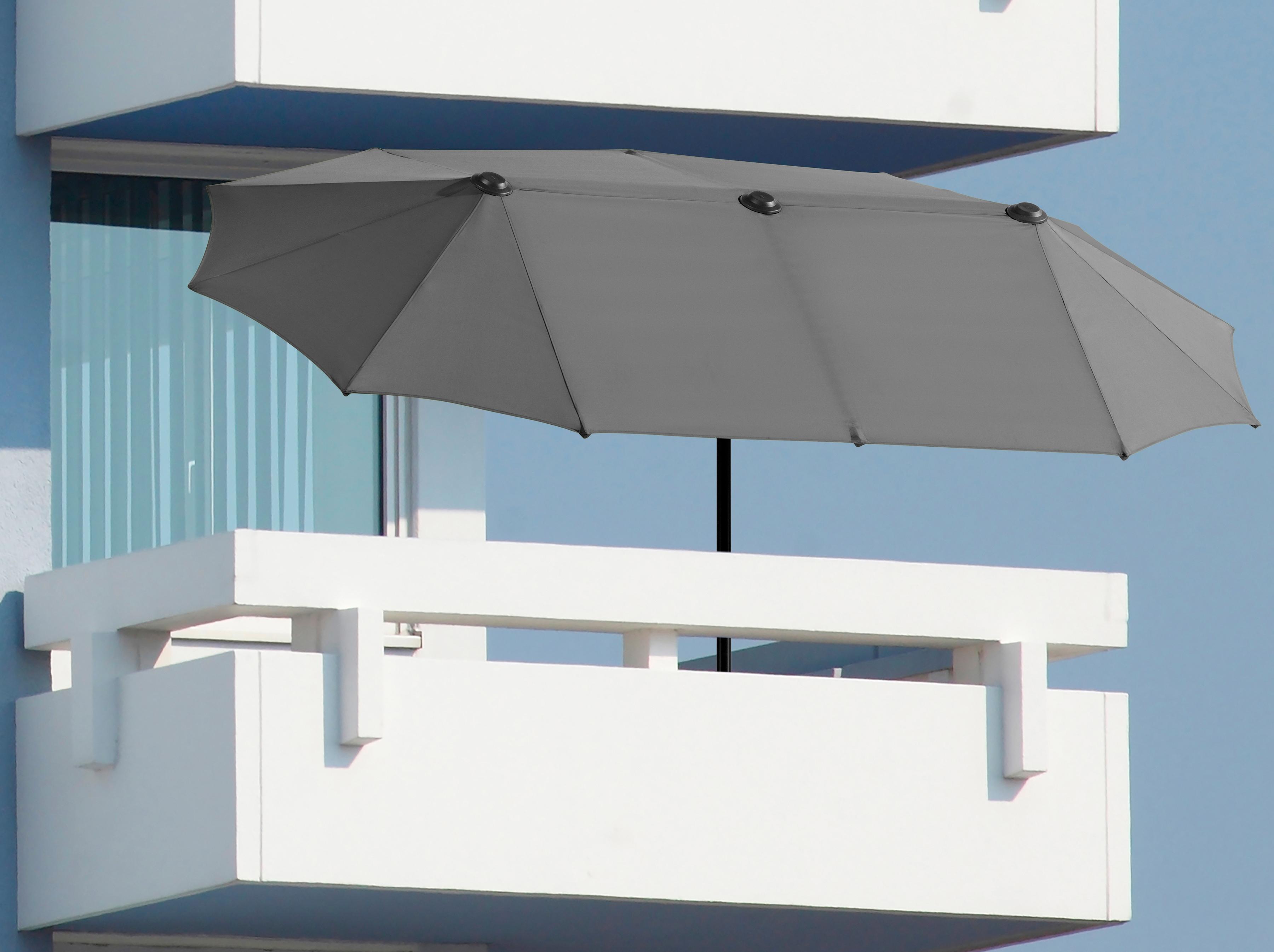 Schneider Schirme Balkonschirm Salerno, Inkl. Schutzhülle, ohne Schirmständer grau Sonnenschirme -segel Garten, Terrasse Balkon