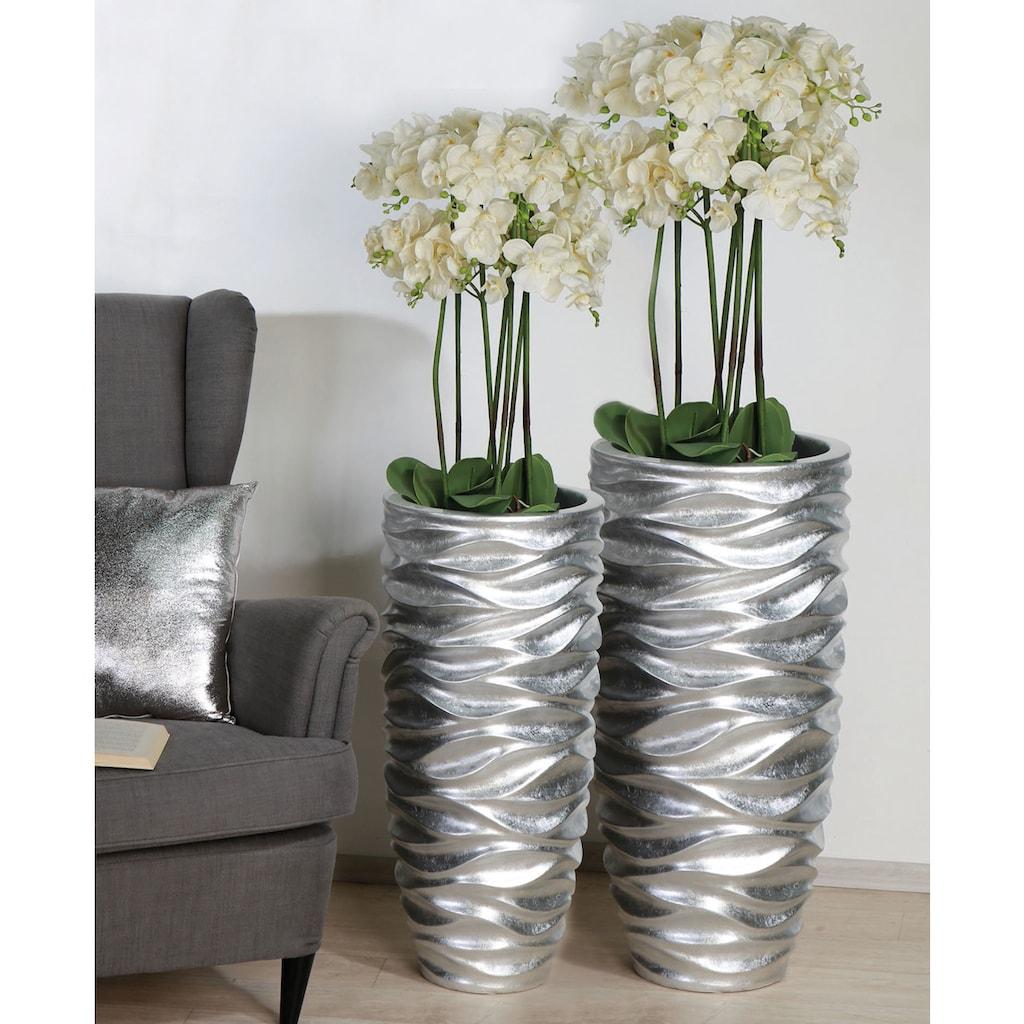 GILDE Pflanzkübel »Waves, silberfarben«, (1 St.), dekorativer Blumentopf, groß, aus Fiberglas, wasserdicht, in 2 Größen erhältlich, Wohnzimmer