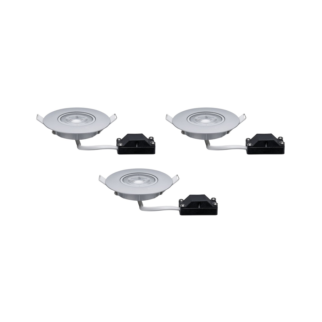 Paulmann LED Einbaustrahler »3er-Set schwenkbar Chrom matt 3x5W 3000K«, 3 St., Warmweiß