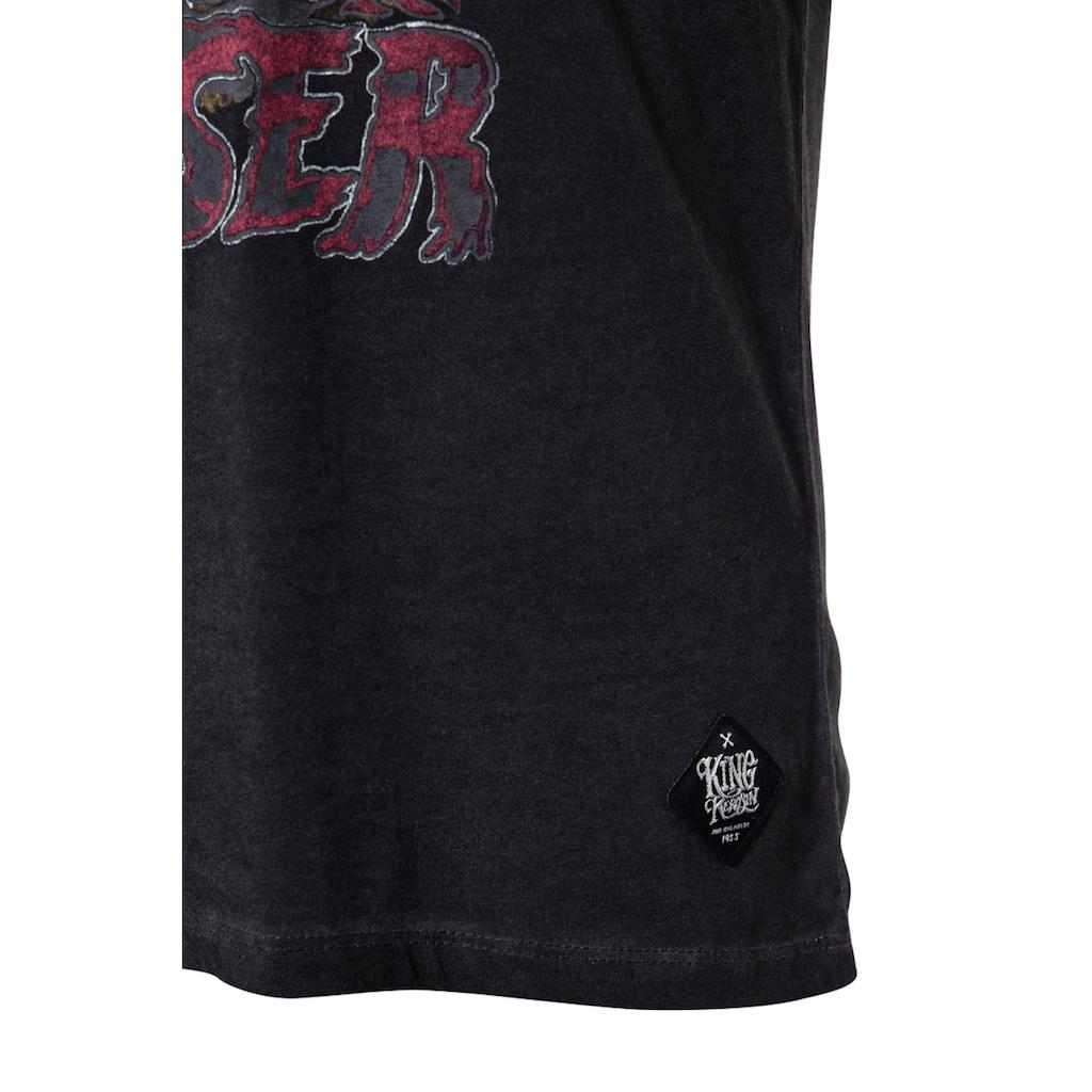 KingKerosin T-Shirt »Rockabilly Greaser«, mit Oilwash-Effekt und Frontprint und Ärmelaufschlag