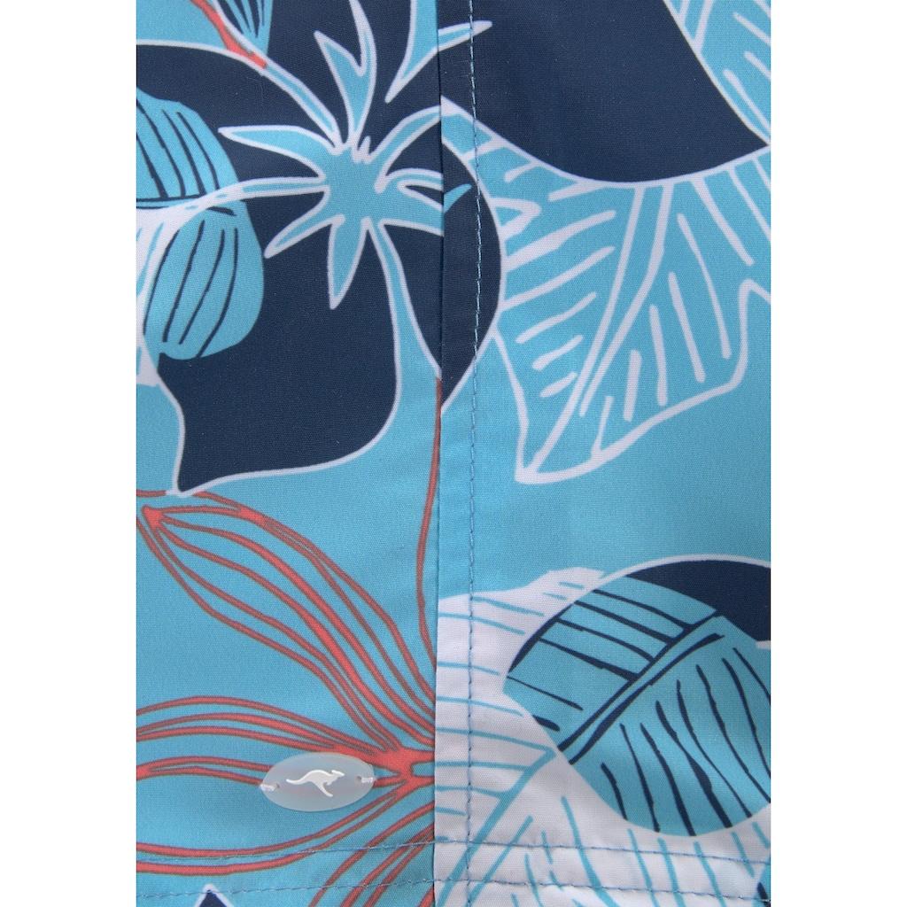 KangaROOS Badeshorts, (1 St.), mit Hawaiiprint