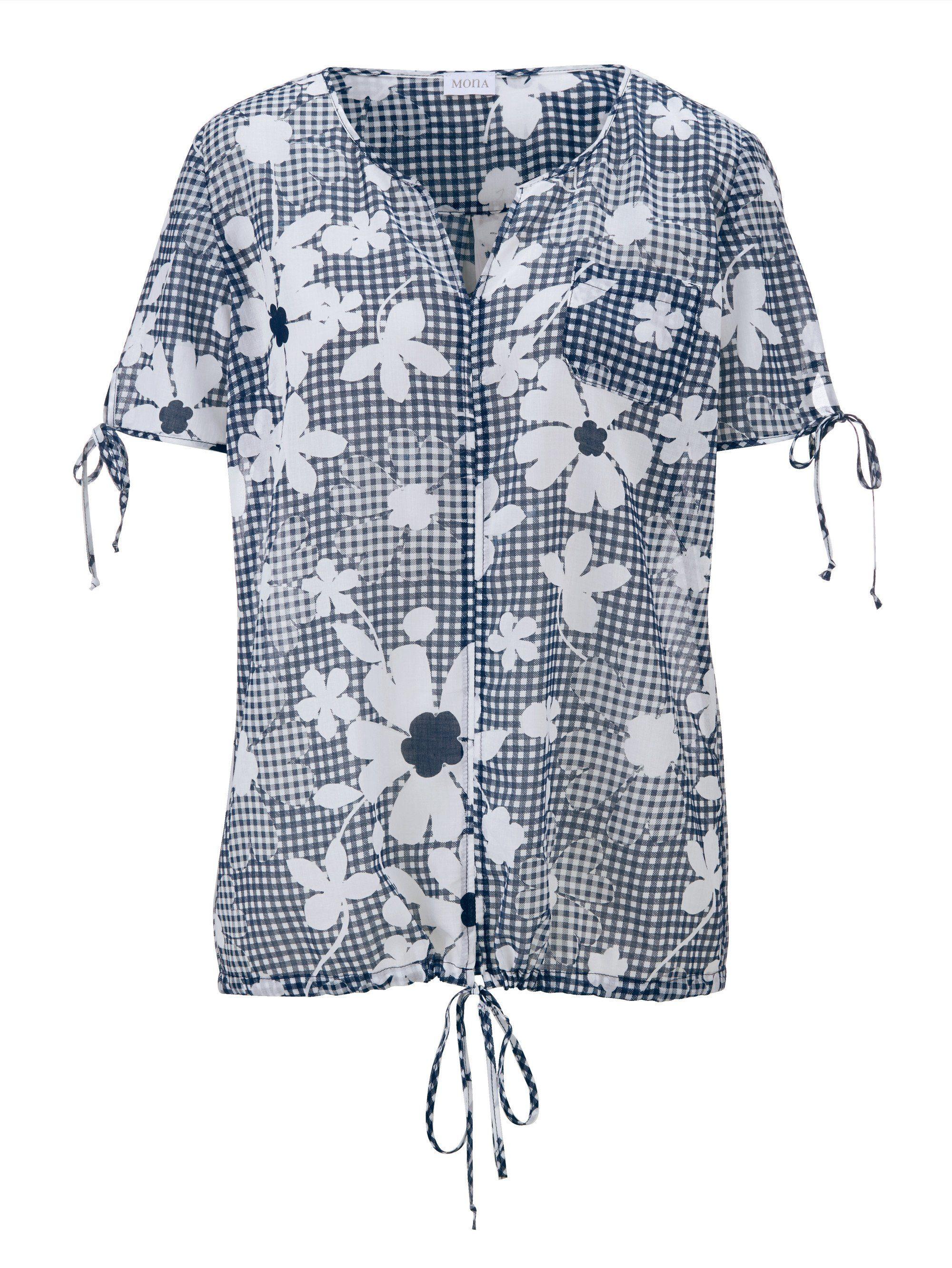 Mona Schlupfbluse mit Bindebändern   Bekleidung > Blusen > Schlupfblusen   Blau   Mona