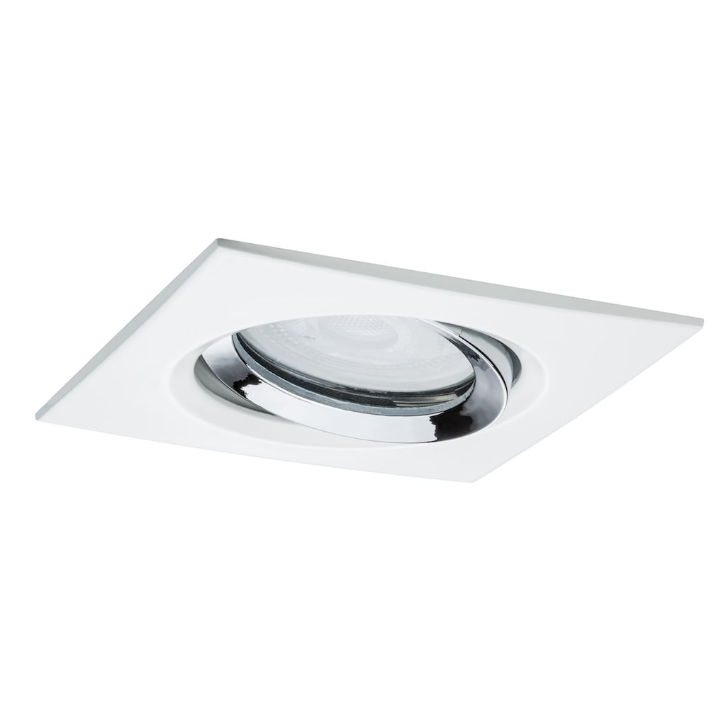 Paulmann LED Einbaustrahler »Nova eckig schwenkbar 1x7W GU10 Weiß matt, Chrom«, GU10, 1 St.